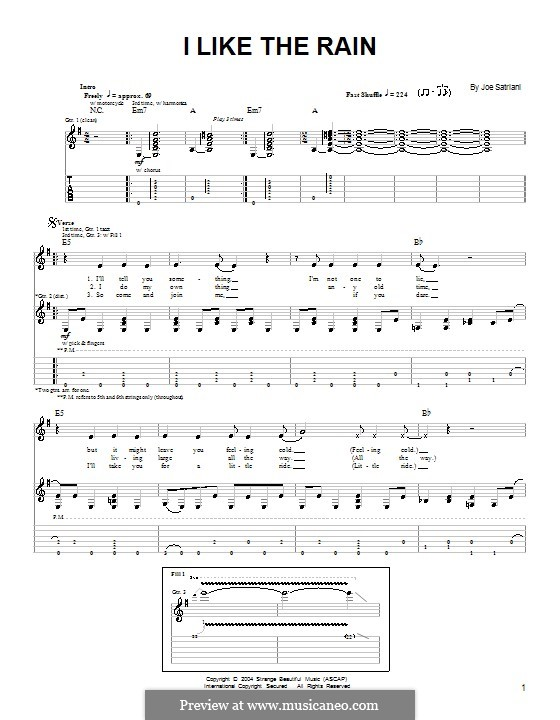 I Like the Rain: For guitar with tab by Joe Satriani