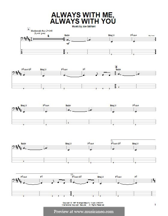 Always with Me, Always with You: For bass guitar with tab by Joe Satriani