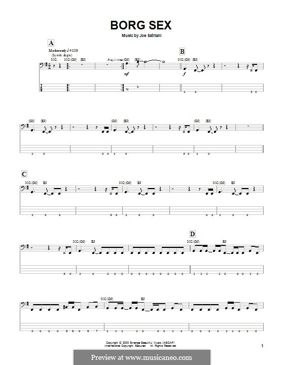 Borg Sex: For bass guitar with tab by Joe Satriani