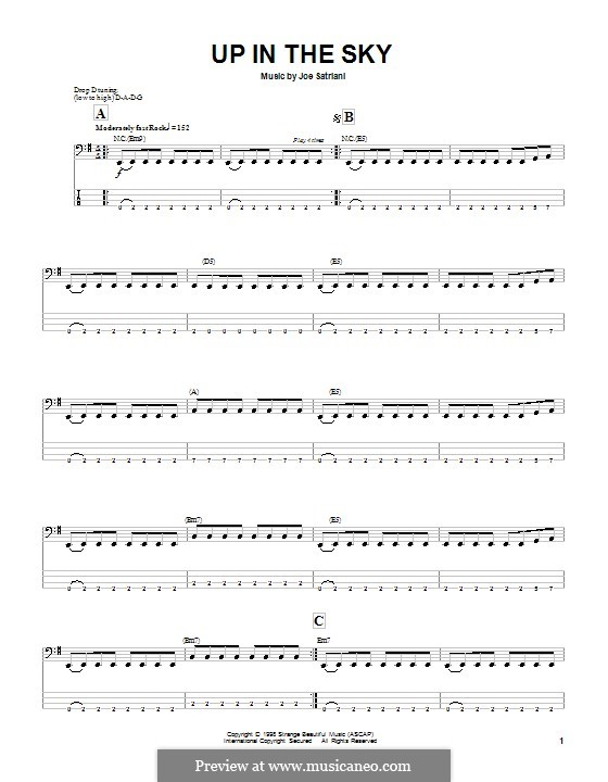 Up in the Sky: For bass guitar with tab by Joe Satriani