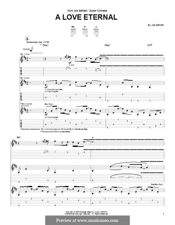 A Love Eternal: For guitar with tab by Joe Satriani