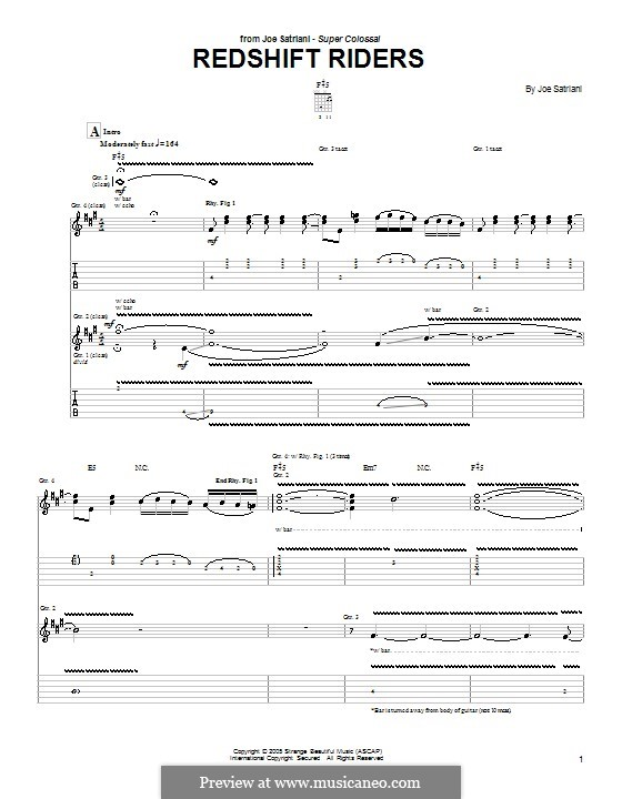 Redshift Riders: For guitar with tab by Joe Satriani