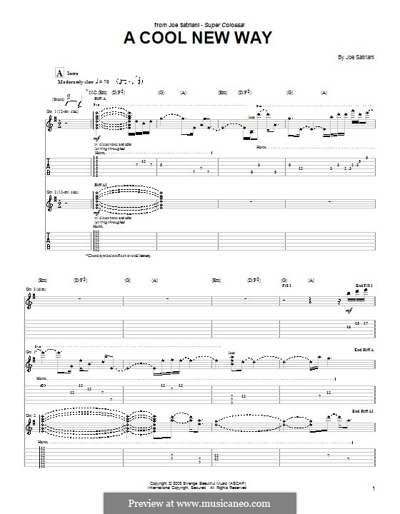 A Cool New Way: For guitar with tab by Joe Satriani