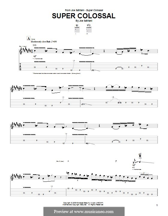 Super Colossal: For guitar with tab by Joe Satriani