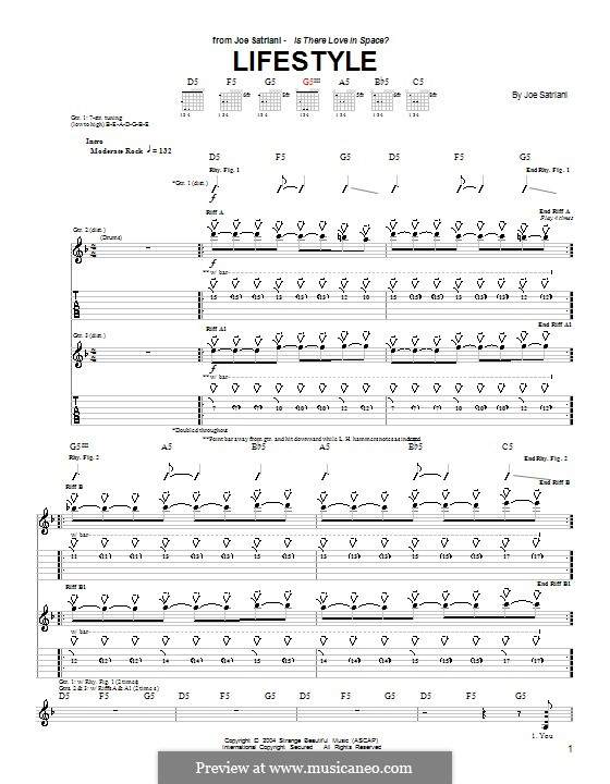 Lifestyle: For guitar with tab by Joe Satriani