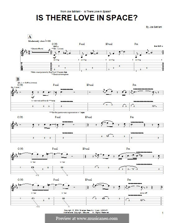 Is There Love in Space?: For guitar with tab by Joe Satriani