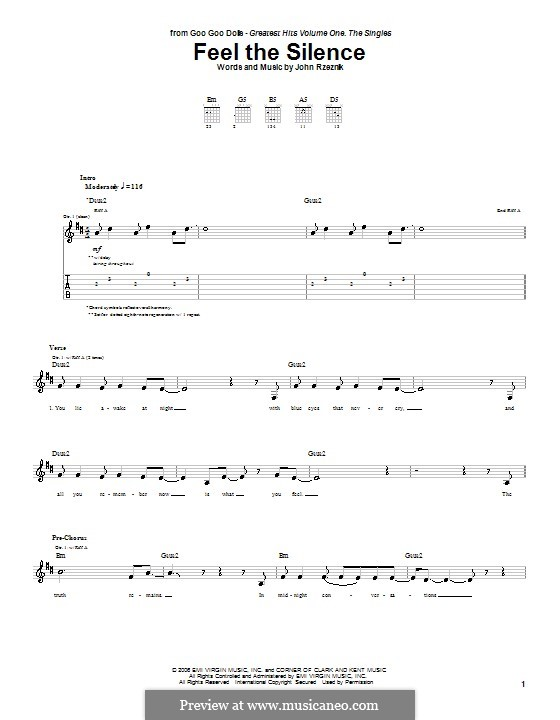 Feel the Silence (Goo Goo Dolls): For guitar with tab by John Rzeznik