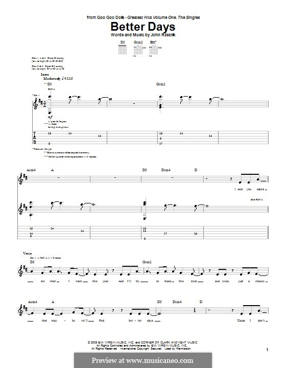 Better Days (Goo Goo Dolls): For guitar with tab by John Rzeznik