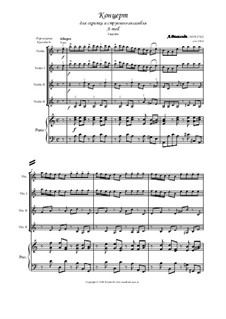 Concerto for Violin and Strings No.6 in A Minor, RV 356: Full score, parts by Antonio Vivaldi