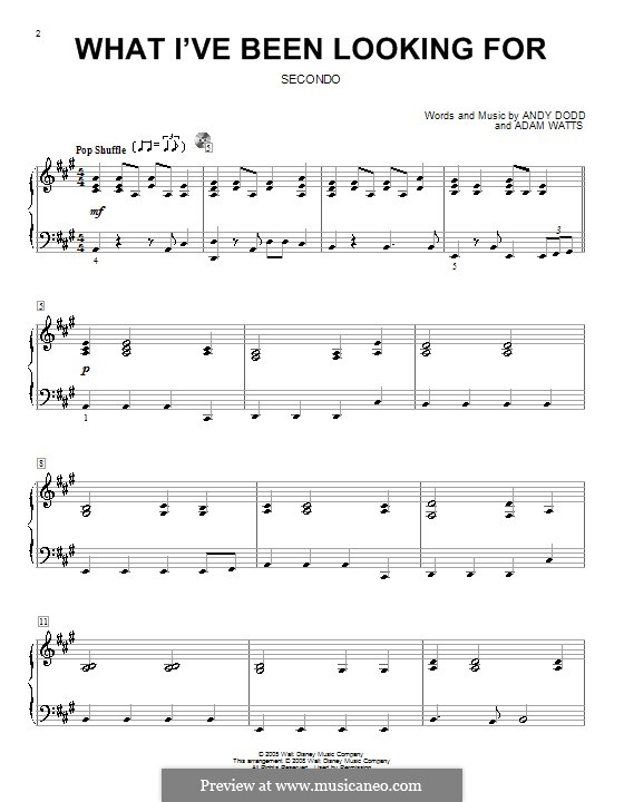 What I've Been Looking for (High School Musical): For piano four hands by Adam Watts, Andrew Dodd