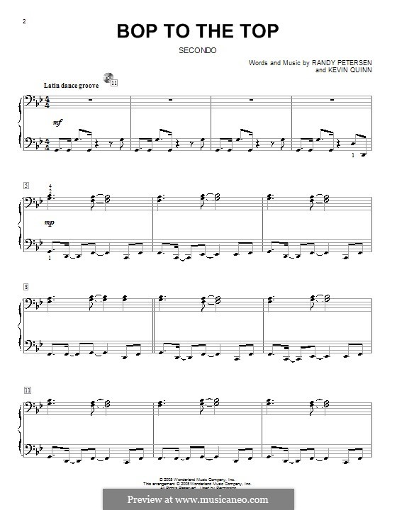 Bop to the Top (High School Musical): For piano four hands by Kevin Quinn, Randy Petersen