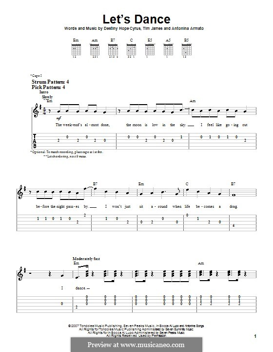 Let's Dance (Hannah Montana): For guitar (very easy version) by Antonina Armato, Destiny Hope Cyrus, Timothy James