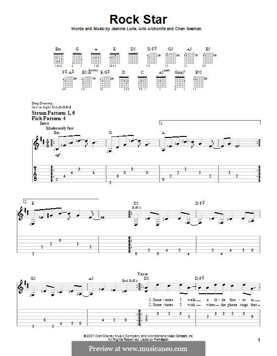 Rock Star (Hannah Montana): For guitar (very easy version) by Aris Archontis, Chen Neeman, Jeannie Lurie