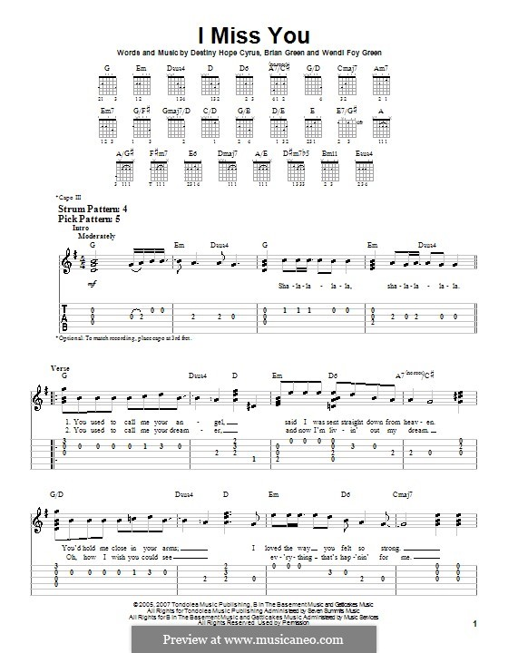 I Miss You (Hannah Montana): For guitar (very easy version) by Brian Green, Destiny Hope Cyrus, Wendi Foy Green