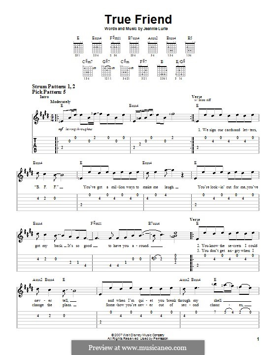 True Friend (Hannah Montana): For guitar (very easy version) by Jeannie Lurie