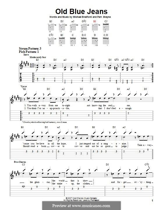 Old Blue Jeans (Hannah Montana): For guitar (very easy version) by Michael Bradford, Pamela Sheyne