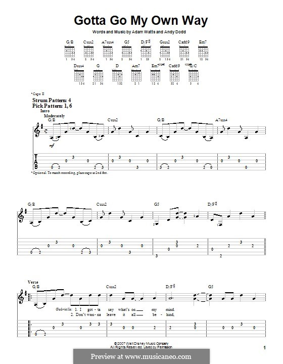 Gotta Go My Own Way (High School Musical 2): For guitar (very easy version) by Adam Watts, Andrew Dodd