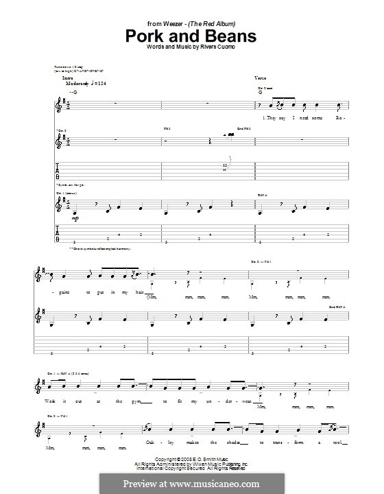 Pork and Beans (Weezer): For guitar with tab by Rivers Cuomo