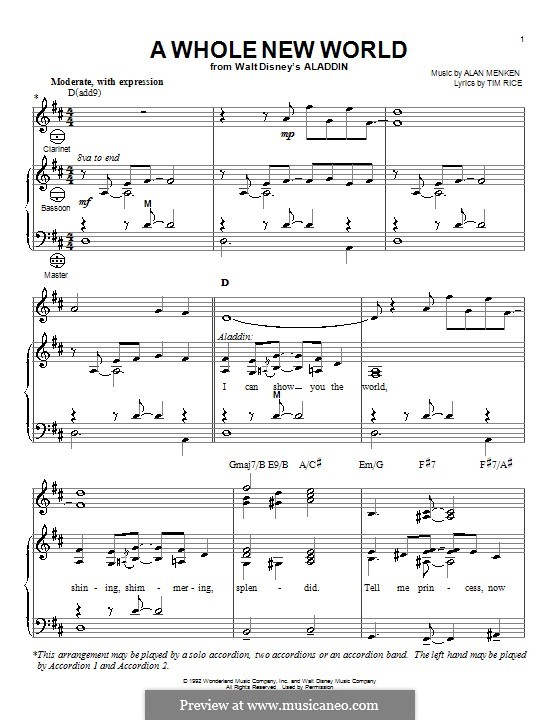 A Whole New World (from Aladdin): For accordion by Alan Menken