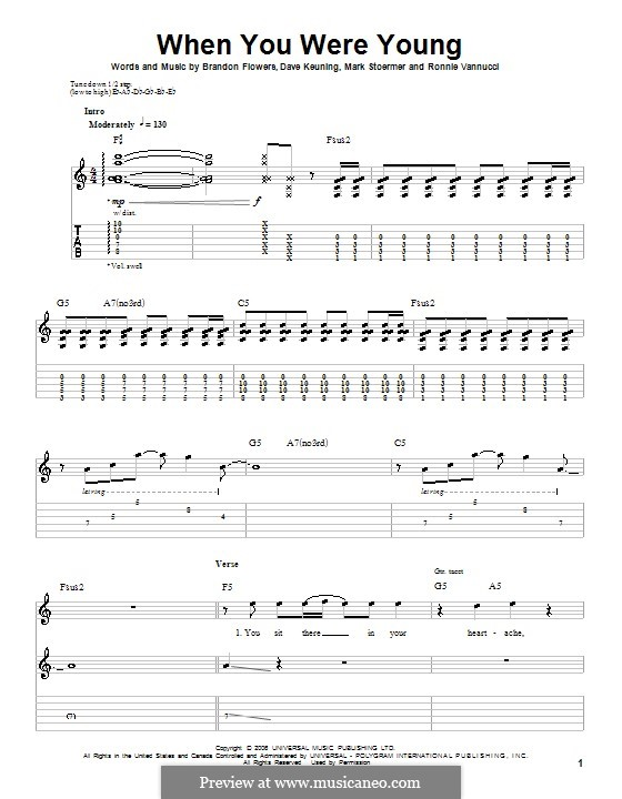 When You Were Young (The Killers): For guitar by Brandon Flowers, Dave Keuning, Mark Stoermer, Ronnie Vannucci