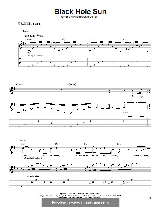 Black Hole Sun (Soundgarden): For guitar with tab by Chris Cornell