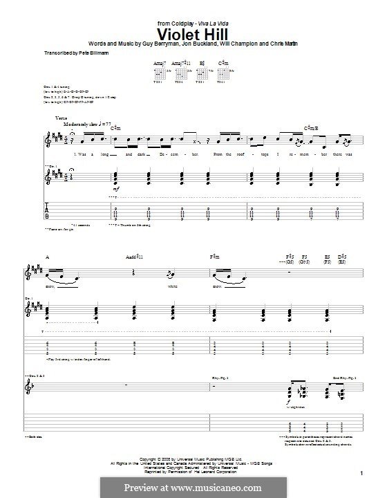 Violet Hill (Coldplay): For guitar with tab by Chris Martin, Guy Berryman, Jonny Buckland, Will Champion