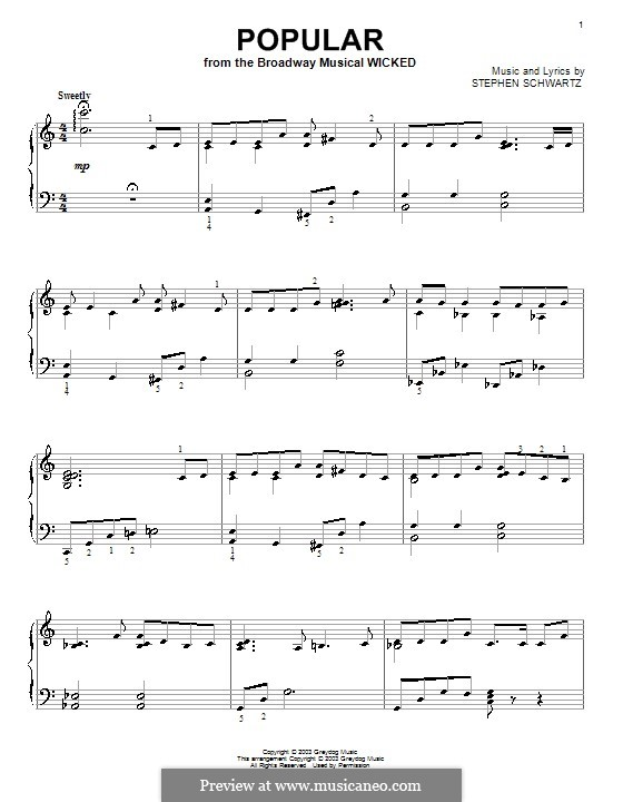 Popular (from Wicked): For piano by Stephen Schwartz