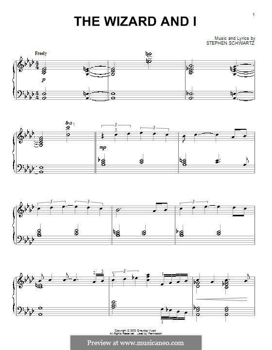 The Wizard and I: For piano by Stephen Schwartz