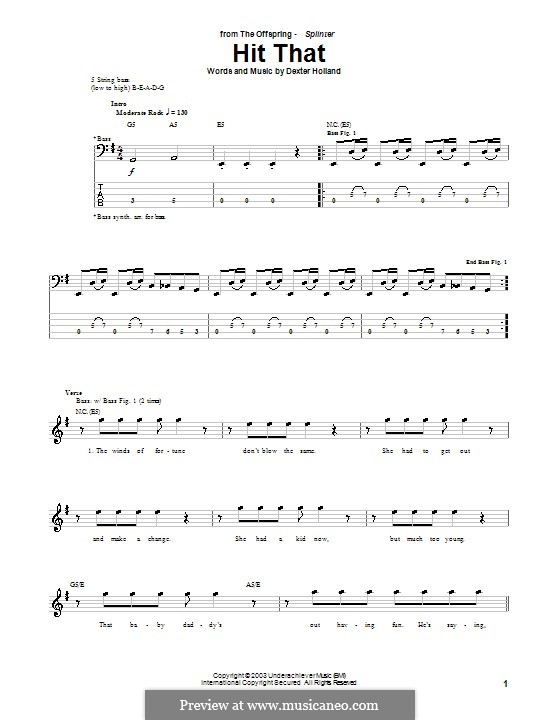 Hit That (The Offspring): For bass guitar with tab by Dexter Holland