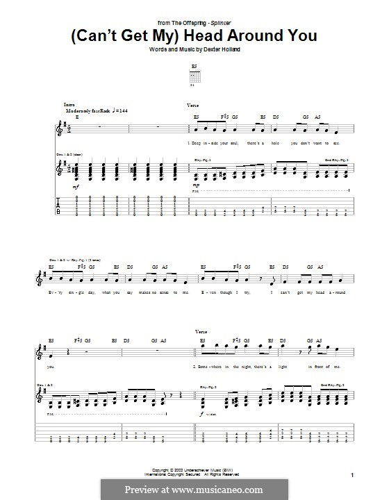 (Can't Get My) Head Around You (The Offspring): For guitar with tab by Dexter Holland