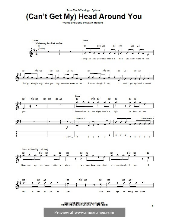 (Can't Get My) Head Around You (The Offspring): For bass guitar with tab by Dexter Holland