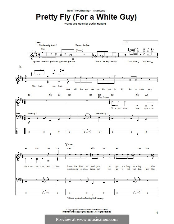 Pretty Fly / For a White Guy (The Offspring): For bass guitar with tab by Dexter Holland