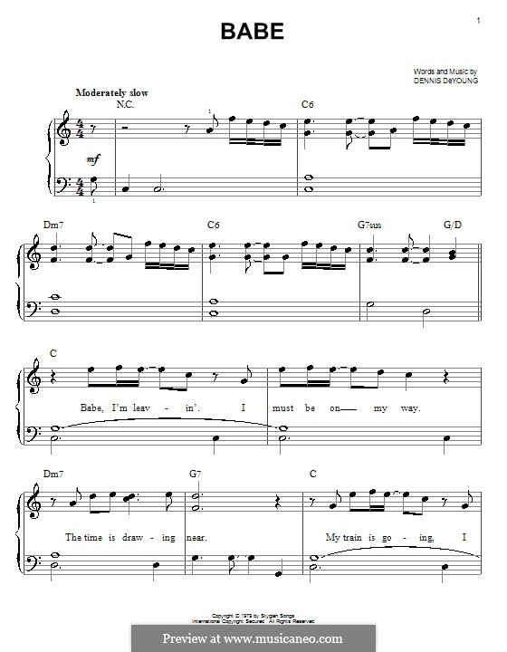 Babe (Styx): For easy piano by Dennis DeYoung