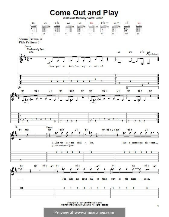 Come Out and Play (The Offspring): For guitar (very easy version) by Dexter Holland