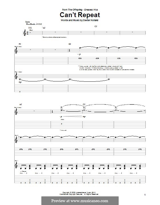 Can't Repeat (The Offspring): For guitar with tab by Dexter Holland