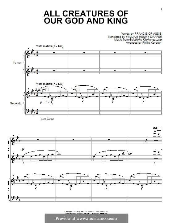 All Creatures of Our God and King: For piano four hands by Unknown (works before 1850)