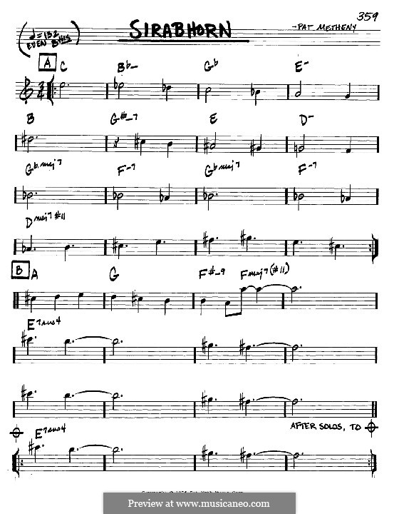 Sirabhorn: Melody and chords - C instruments by Pat Metheny