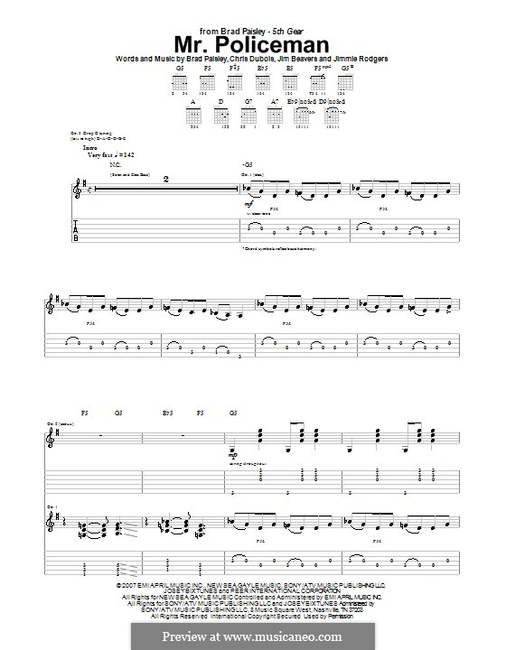 Mr. Policeman (Brad Paisley): For guitar with tab by Chris DuBois, Jim Beavers, Jimmie Rodgers