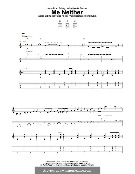 Me Neither: For guitar with tab by Chris DuBois, Frank Rogers