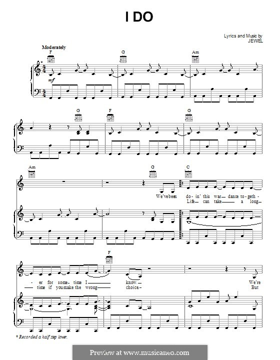 I Do (Jewel): For voice and piano (or guitar) by Jewel Kilcher