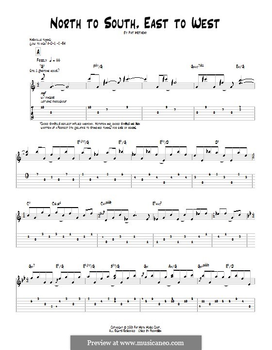 North to South, East to West: For guitar with tab by Pat Metheny