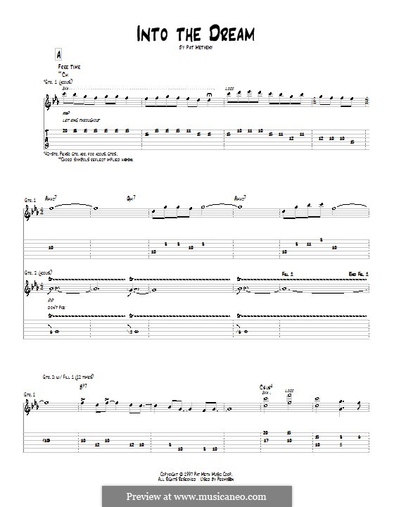 Into the Dream: For guitar with tab by Pat Metheny
