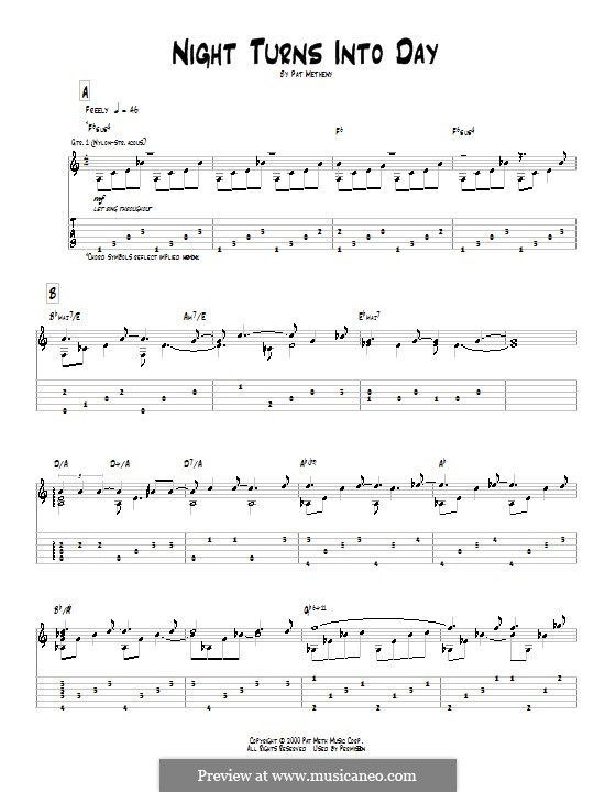Night Turns Into Day: For guitar with tab by Pat Metheny