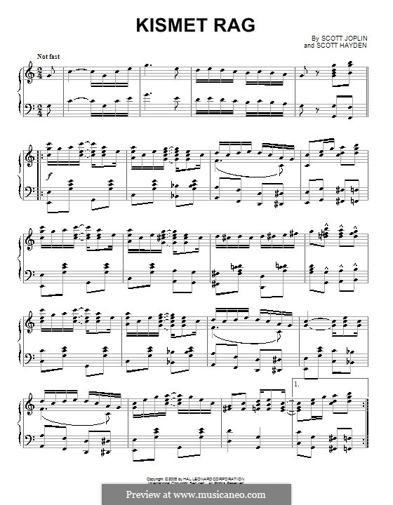Kismet Rag: For piano by Scott Joplin