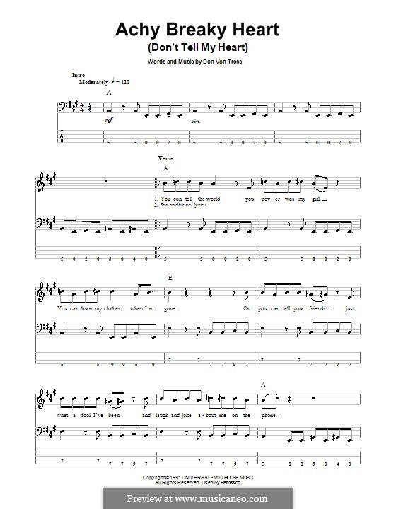 Achy Breaky Heart (Don't Tell My Heart): For bass guitar with tab by Donald Von Tress