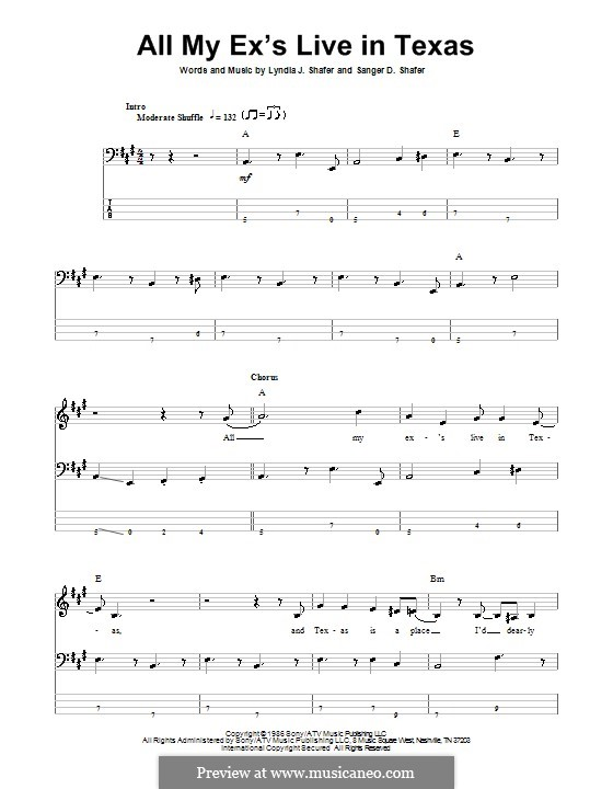 All My Ex's Live in Texas: For bass guitar with tab by Lyndia J. Shafer, Sanger D. Shafer