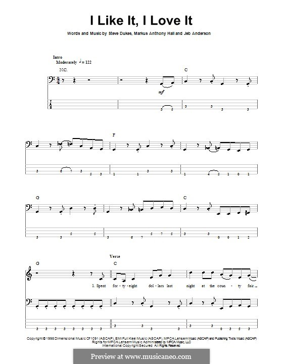 I Like It, I Love It (Tim McGraw): For bass guitar with tab by Jeb Anderson, Markus Anthony Hall, Steve Dukes
