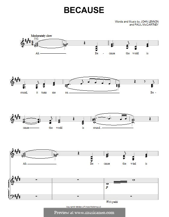 Because (The Beatles): For voice and piano (or guitar) by John Lennon, Paul McCartney