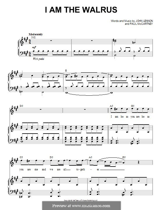 I am the Walrus (The Beatles): For voice and piano (or guitar) by John Lennon, Paul McCartney