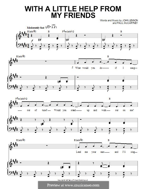 With a Little Help from My Friends (The Beatles): For voice and piano or guitar (E Major) by John Lennon, Paul McCartney